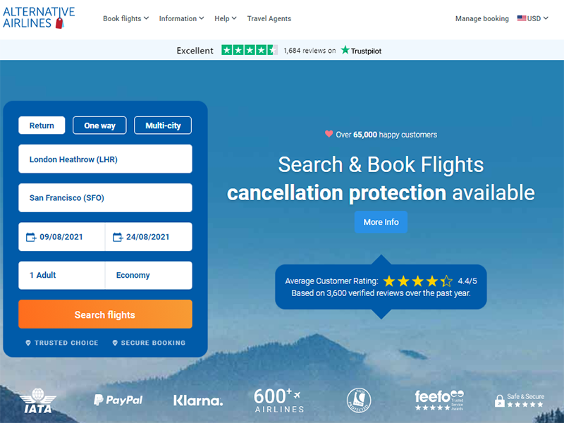 Alternative Airlines search bar with London Heathrow to San Francisco selected