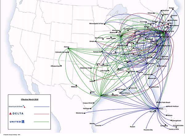 Republic Airlines Route Map