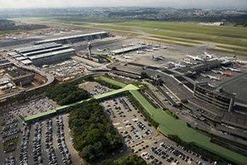 birds eye view of the airport, showing planes on runway and complex configuration of terminal buildings