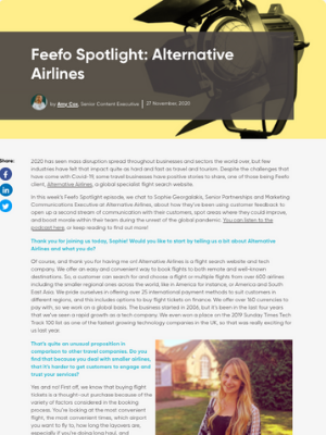 A screenshot of Feefo's webpage, with the headline 'Feefo Spotlight: Alternative Airlines' and published interview can be seen below