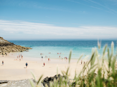 A photo of sandy beach and blue sea, taken at st Ives beach in Cornwall