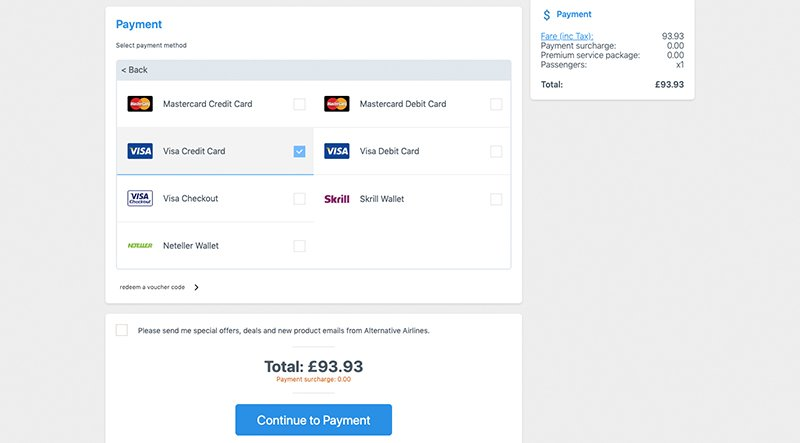 Step 3 payment details card selection