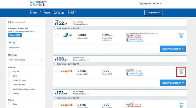 Step 2 browse flight search results page