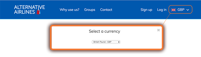 sterling gbp currency selection
