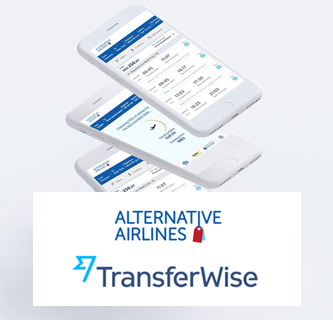 An image featuring Alternative Airlines' logo and TransferWise's logo