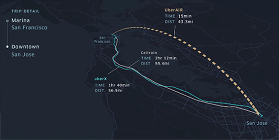 A proposed flight map by Uber Air