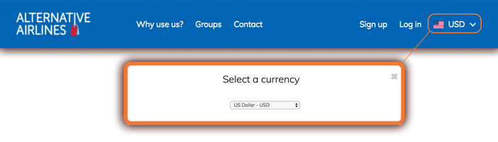USD dollar currency selection